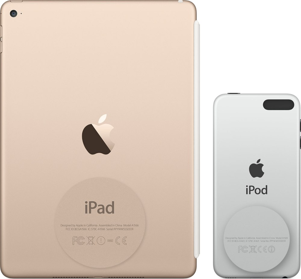 iPad and iPod showing model number